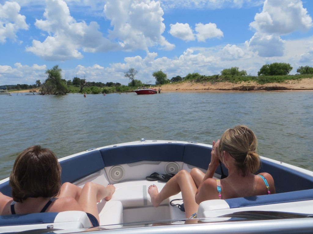 Sisters Weekend, Susan and Kathy in the bow of Pilar (blog)